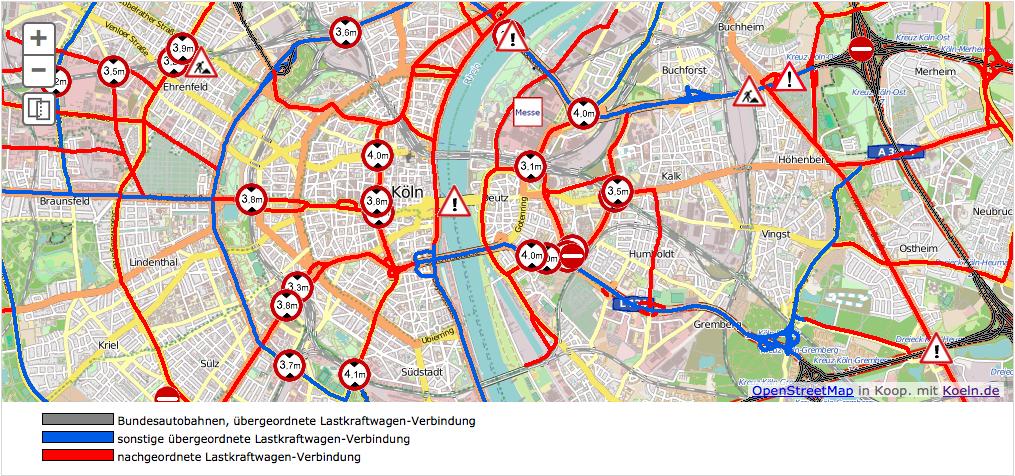 Die LKW-Routen von Köln im April 2015