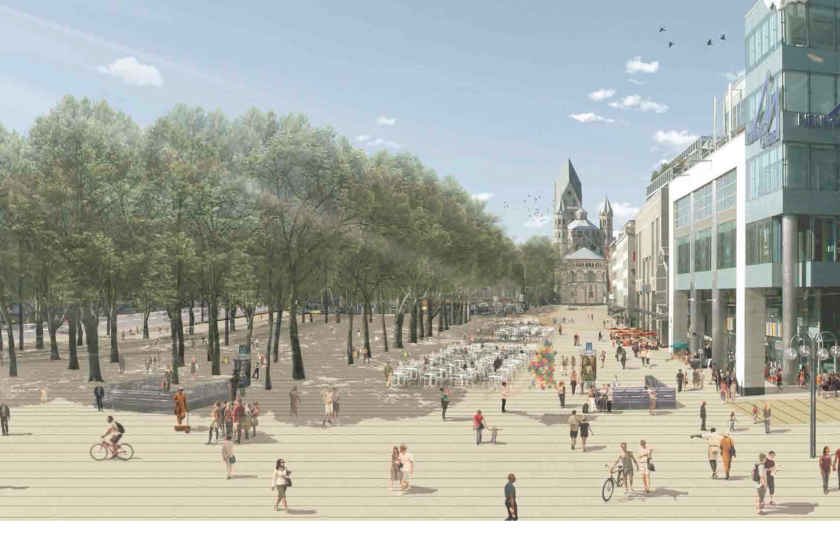 Blick über den Neumarkt aus der Schildergasse - Erweiterung des Platzes Richtung Norden